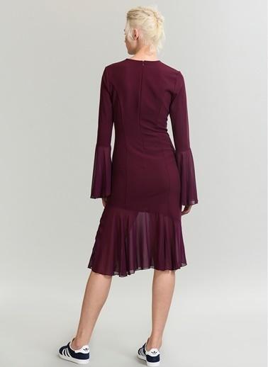People By Fabrika Şifon Detaylı Elbise Mürdüm